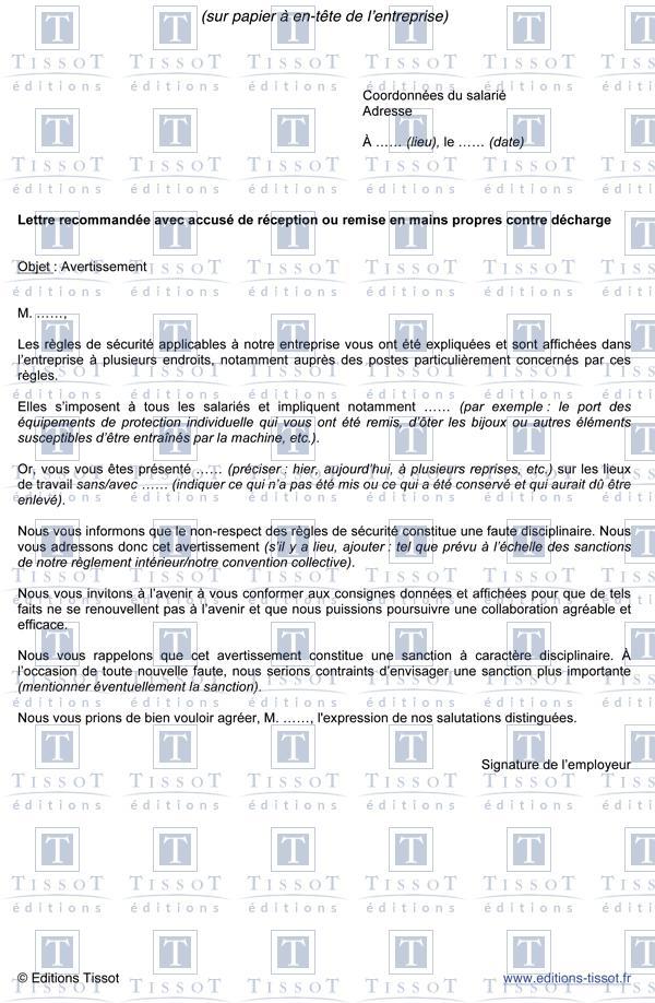 Avertissement Pour Manquement Aux Regles De Securite Schemas Et Modeles Commentes Editions Tissot