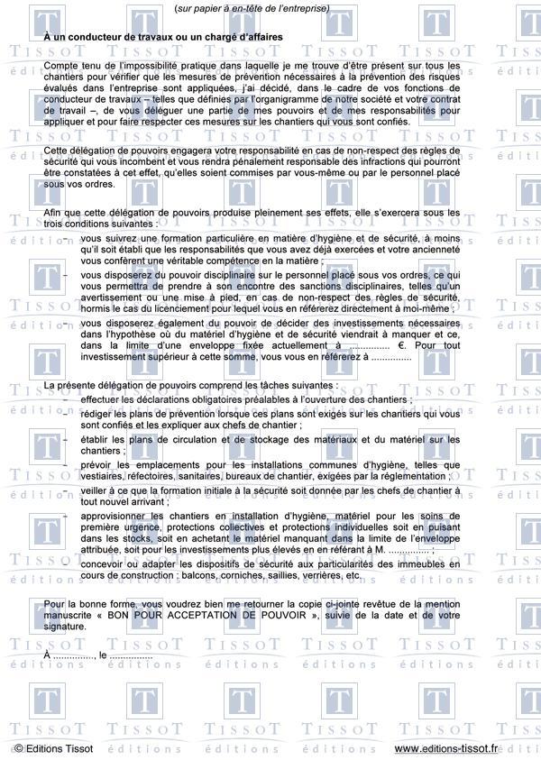Delegation De Pouvoirs A Des Conducteurs De Travaux Schemas Et Modeles Commentes Editions Tissot