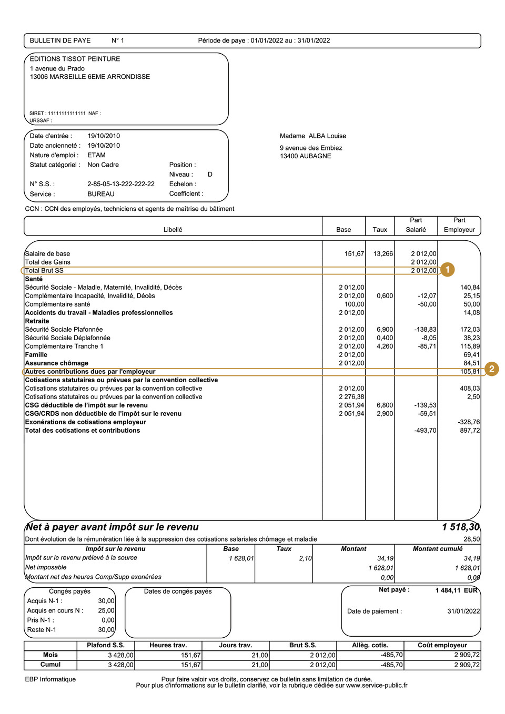 exemple bulletin de paie avec indemnite transactionnelle