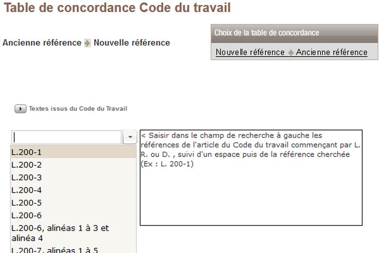 Tissot information juridique ce et salari s acc s - Table de concordance code du travail ...
