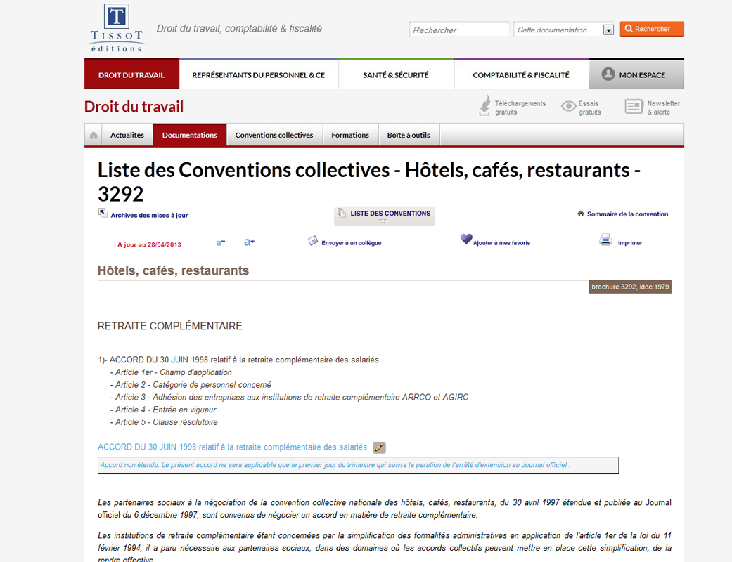 Convention collective gratuite 1979 Hôtels, cafés, restaurants › Brochure