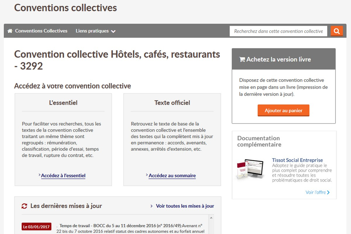 Droit Du Travail Hotels Cafes Restaurants Editions Tissot